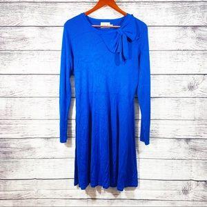 Eliza J Blue Long Sleeve Bow Knit Sweater Dress XL